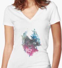 Print 1 Women's Fitted V-Neck T-Shirt