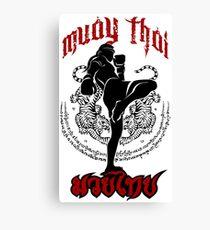 muay thai kick thailand martial art sport logo badge sticker shirt Canvas Print