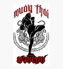 Muay thailändischer Tritt Thailand-Kampfkunstsportlogo-Abzeichen-Aufkleberhemd Fotodruck