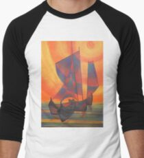 Red Sails in the Sunset Cubist Junk Abstract Men's Baseball ¾ T-Shirt