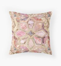 Geometric Gilded Stone Tiles in Blush Pink, Peach and Coral Throw Pillow