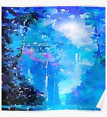 Nature, water fall,lake,water color,painting,shades of blue, Poster