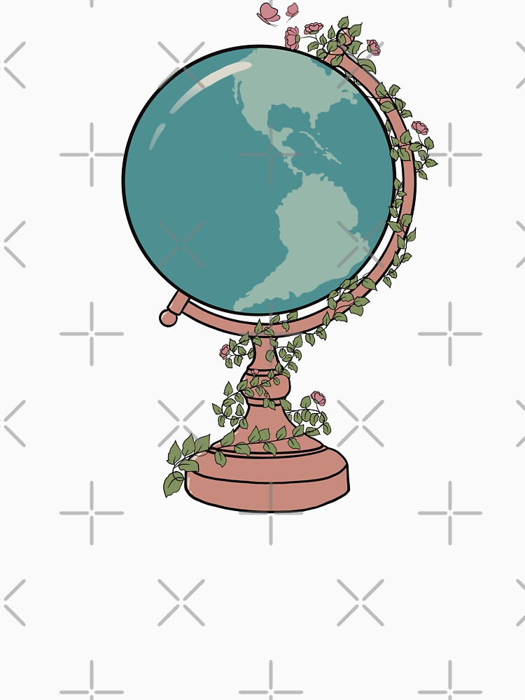 Blue & Pink Globe with Floral Vine & Butterflies by acozymess