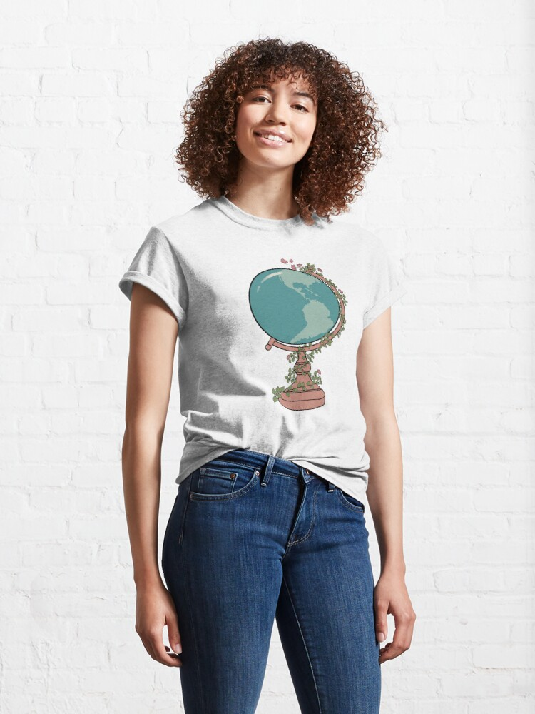 Alternate view of Blue & Pink Globe with Floral Vine & Butterflies Classic T-Shirt