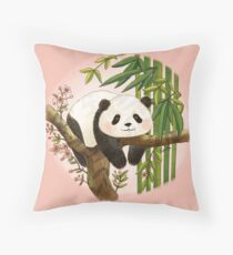 Panda under Sunlight - Pink Throw Pillow
