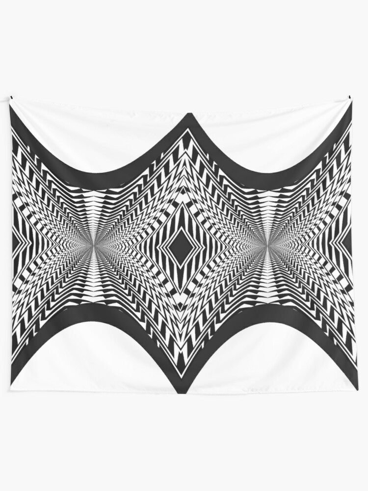 Alternate view of Black and White Pattern Tapestry