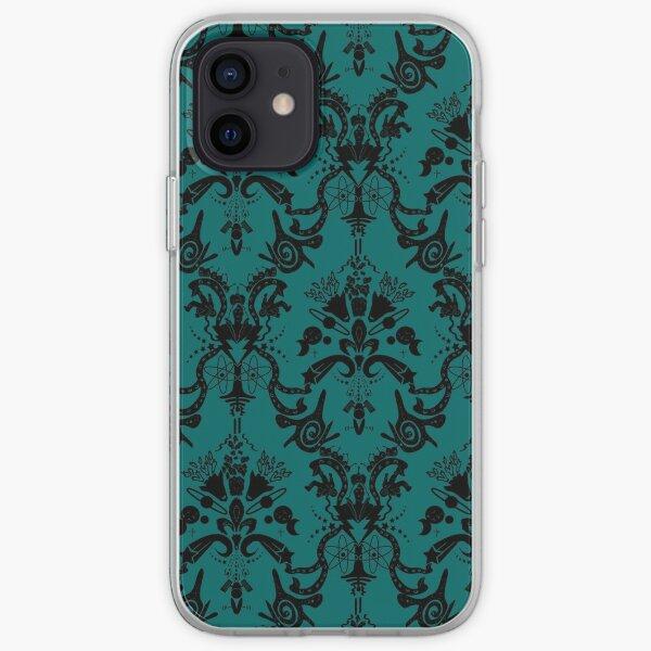 Cosmic Damask Black on Turquoise iPhone Soft Case