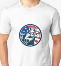 Welder Looking Side USA Flag Circle Retro T-Shirt