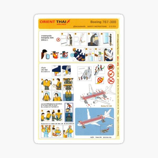 Aeroplane safety card - Orient Thai Airlines Sticker