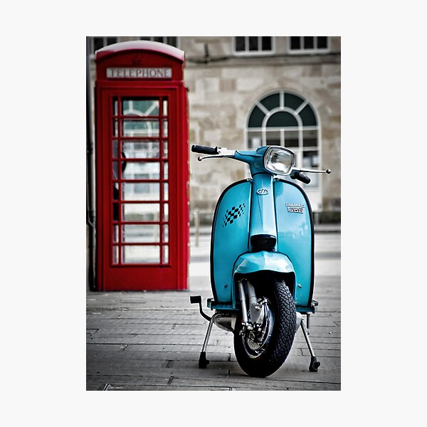 Italian Light Blue Lambretta GP Scooter Photographic Print