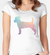 Jack Russell Terrier - Colorful Geometric Pattern - Pastel Women's Fitted Scoop T-Shirt