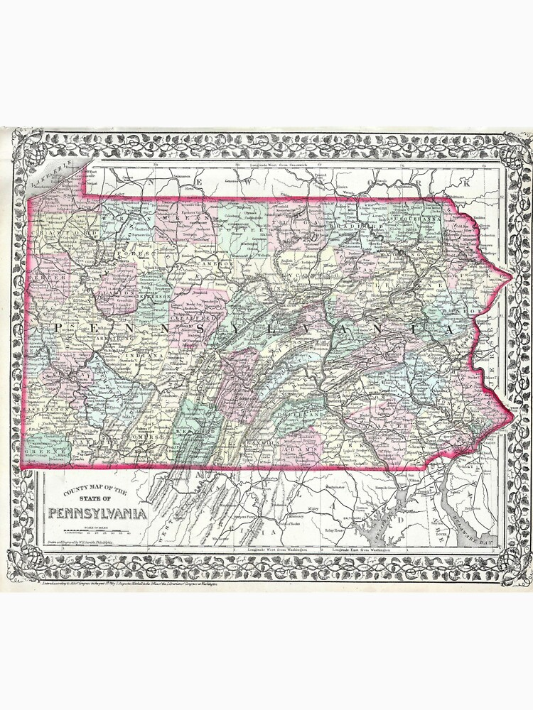 Vintage Map of Pennsylvania (1874) by BravuraMedia