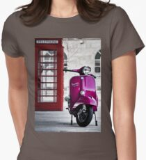 Italian Pink Vespa Rally 200 Scooter Womens Fitted T-Shirt