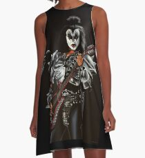 Gene Simmons of Kiss Painting A-Line Dress