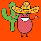 Little Mexican Jumping Bean - Cute Kids Cartoon Character by designedbyn