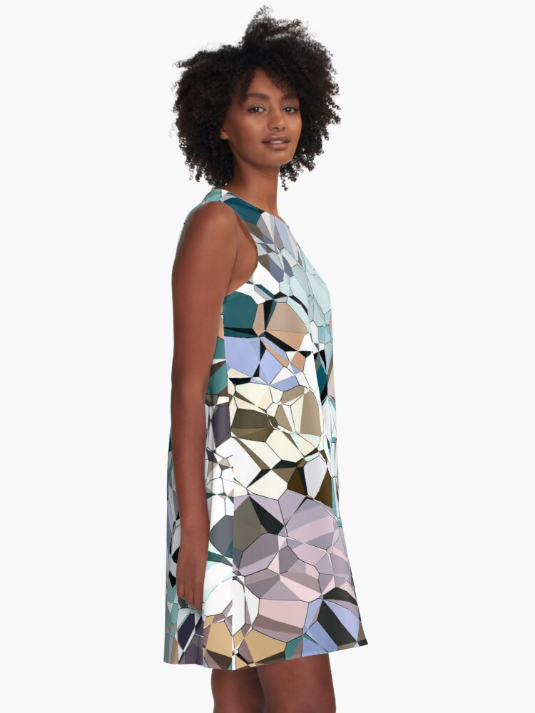 Alternate view of Abstract Geometric Shapes A-Line Dress
