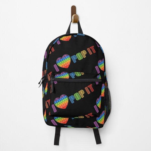 Pop It Push Bubble Fidget Toy, Rainbow Simpl Dimple Heart, I Love Pop It Backpack