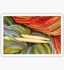 yarn and knitting needles Sticker