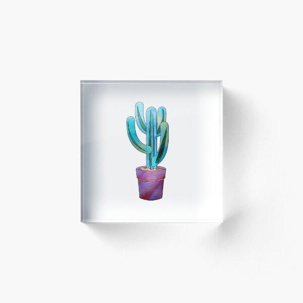 Cactus Watercolor Delightful & Succulent Art Acrylic Block
