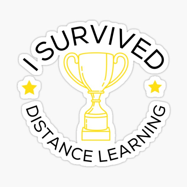 Minimalist I survived distance learning - Logo Style Sticker