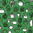 Kitchen Teapots - Green by Andrea Lauren von Andrea Lauren