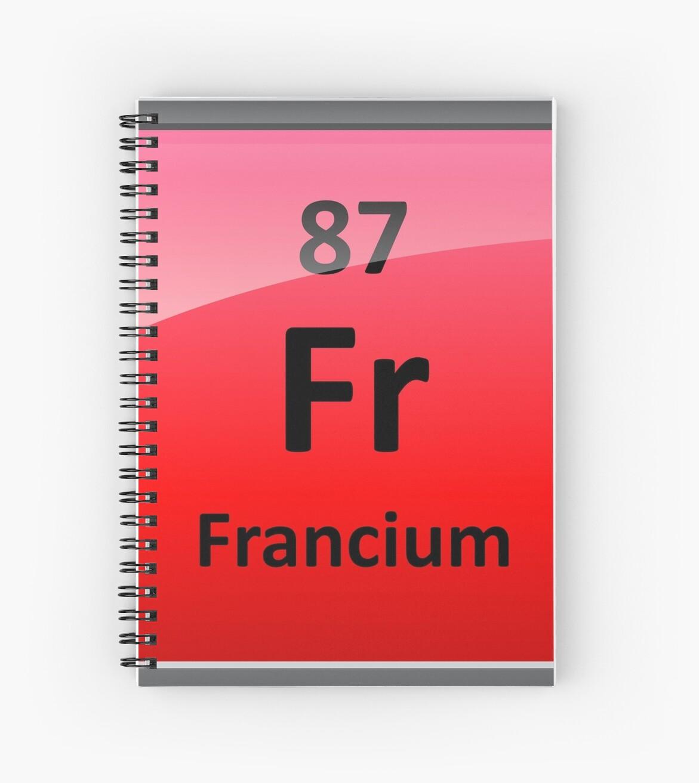 Cuadernos de espiral smbolo de elemento de tabla peridica de smbolo de elemento de tabla peridica de francio de sciencenotes urtaz Image collections