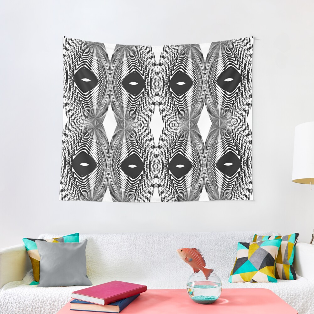 Abstract White and Black Template Tapestry
