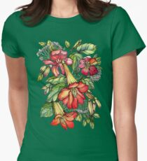 Red Trumpet Vine flowers. Womens Fitted T-Shirt