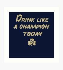 Drink Like a Champion - South Bend Style Dark Blue Art Print