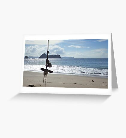 Swinging on the Beach Greeting Card