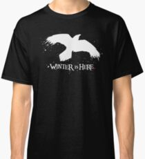 Winter is Here - Large Raven on Black Classic T-Shirt