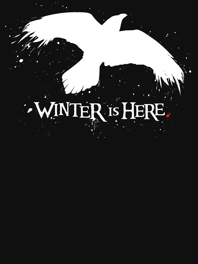 Winter is Here - Large Raven on Black by Draganmac