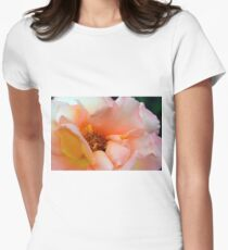 Macro on delicate pink rose. Womens Fitted T-Shirt