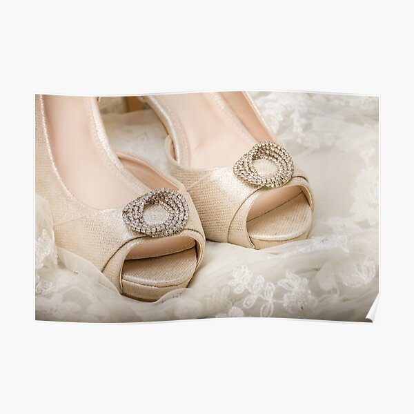 Cream Satin Peep-Toe Shoes on Lace Poster