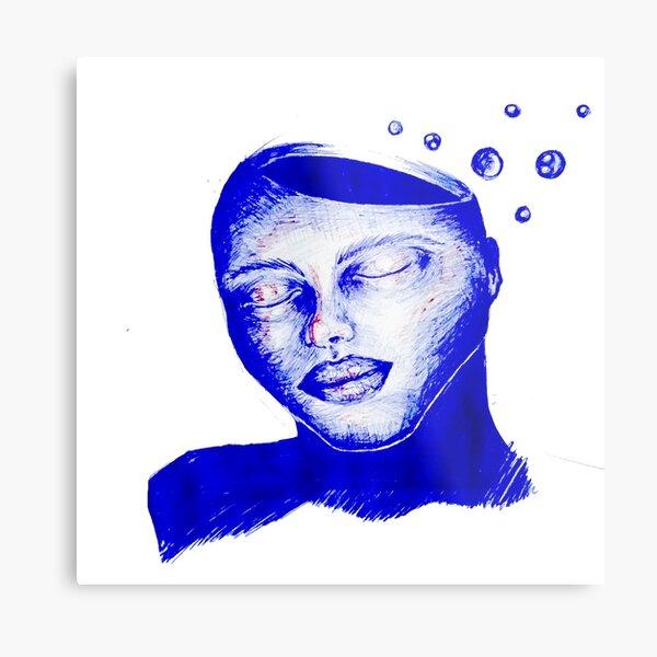 sleepy open head blue ballpoint pen design  Metal Print