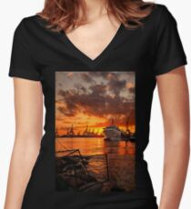 Sunset at the port Women's Fitted V-Neck T-Shirt