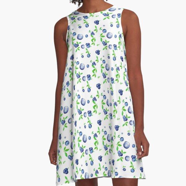 Blueberries,blueberry,fruits,watercolour pattern  A-Line Dress