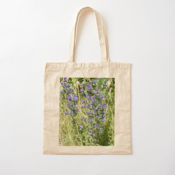 purple wildflowers Cotton Tote Bag