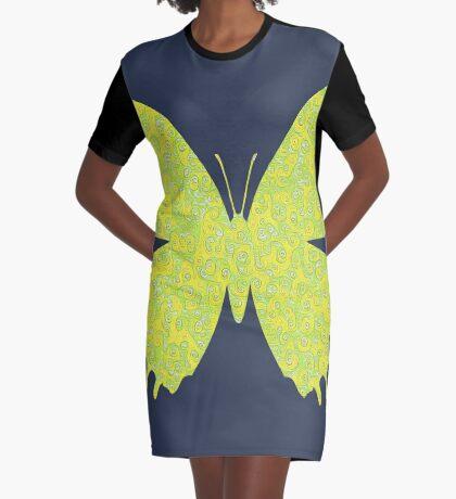 #DeepDream Lemon Lime color Butterfly Graphic T-Shirt Dress