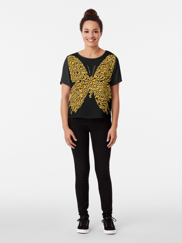 Alternate view of Golden butterfly Chiffon Top