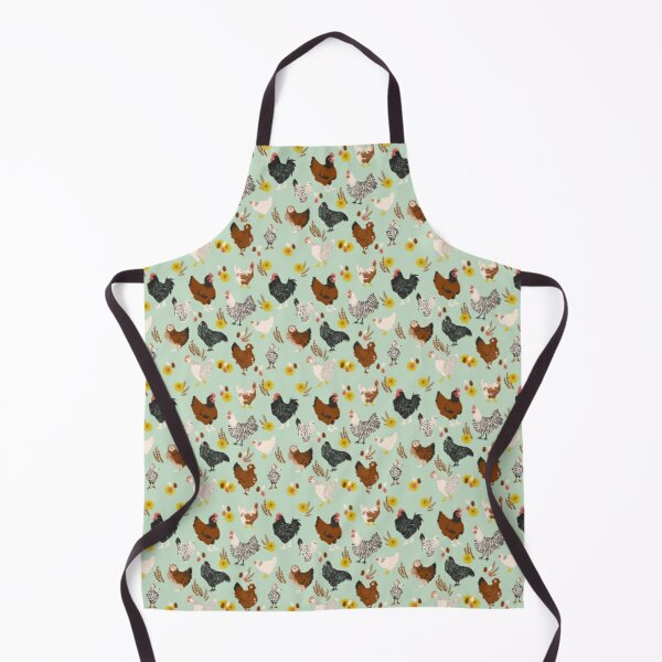 Backyard Chickens and Flowers Apron