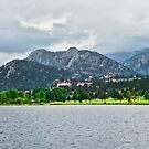 Stanley Hotel from Lake Estes  by Robert Meyers-Lussier