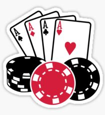 Poker cards chips Sticker