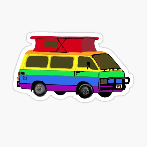Rainbow Vintage Hi Ace Campervan  Sticker