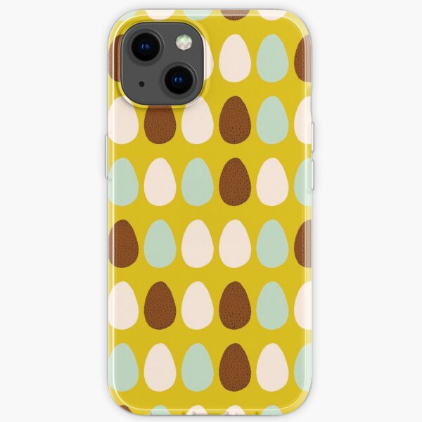 Multicolor Chicken Eggs Yellow Background iPhone Soft Case