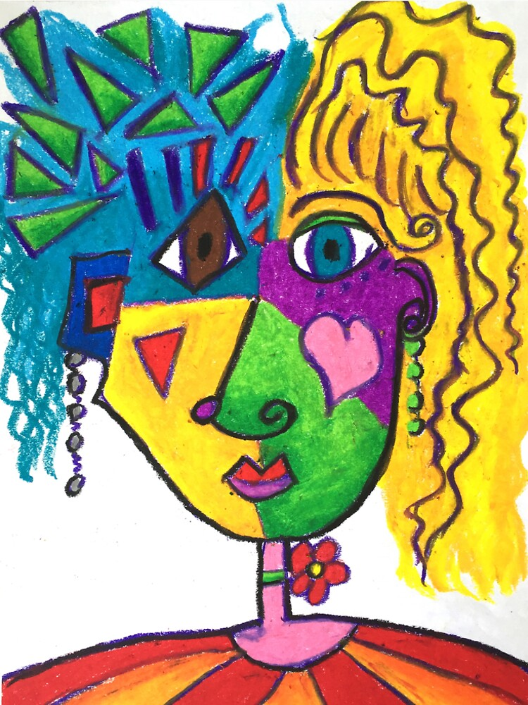 Picasso Face Abstract Portrait of a Girl by KarenBrake