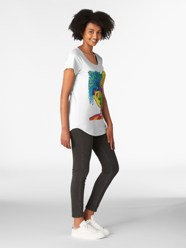 Alternate view of Picasso Face Abstract Portrait of a Girl Premium Scoop T-Shirt