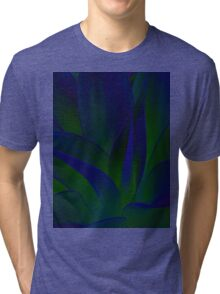 Succulent Abstract  in Blue and Green #215 Tri-blend T-Shirt