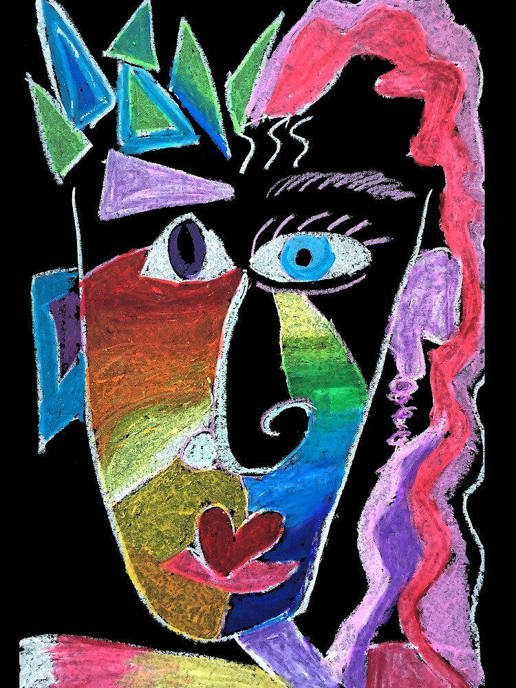 Picasso Face Abstract Portrait on Black background by KarenBrake