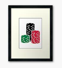 Poker Roulette chips gambling Framed Print